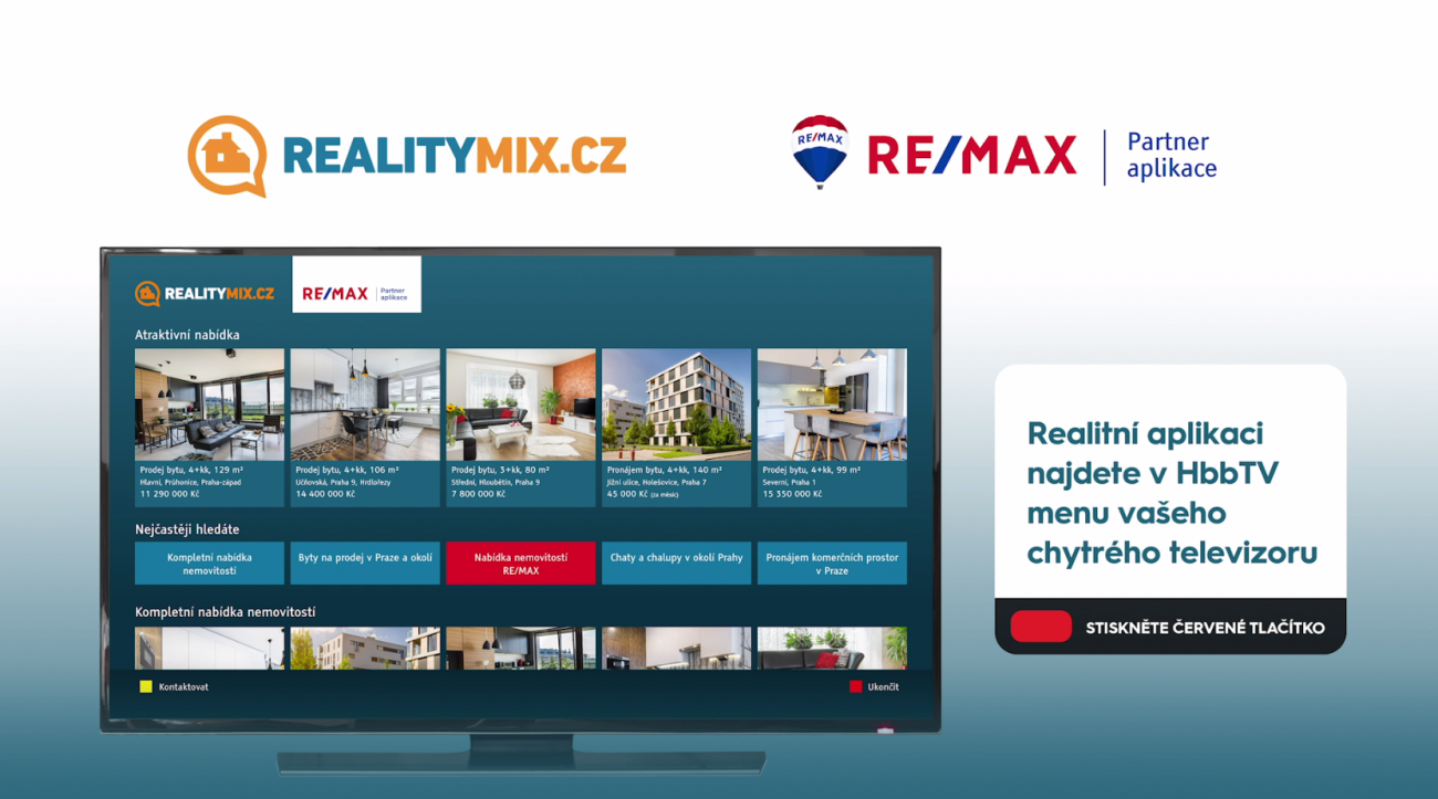 Skupina Prima nabízí divákům v HbbTV katalog nemovitostí RealityMIX